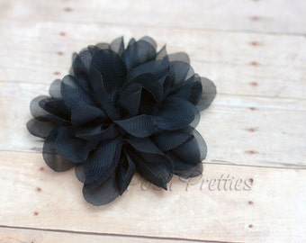 Black Flower Hair Clip - Petal Flower- Flower Hair Clip - Alligator Clip - With or Without Rhinestone Center