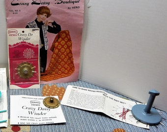 """Crazy Daisy Winder with Pattern Book """"Crazy Daisy Boutique"""" Vol. 5,, Knit Wits One Square and 1Round"""