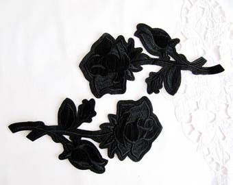 Iron On Black Rose Patch,2PCS.Black ROSE Applique, İron on Flower Applique,Black Flower Patch,Rose Embellishment,Floral iron on Patch