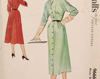 """RARE Vintage 1950s McCalls 9666 Sewing Pattern Button Front 50s Dress Pattern Dolman Sleeves Fitted Waist Collar UNCUT FF Bust 30"""""""