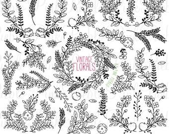 Vintage Floral Silhouettes Clipart Clip Art Rustic Wedding Laurel Wreath Vectors