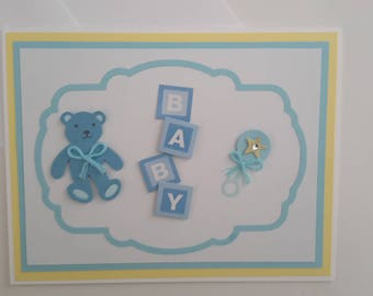 Baby Boy blank inside 3D greeting card - Congratulations baby boy card - Baby shower card - Welcome baby card