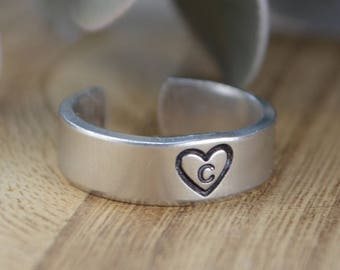 Any Initial Monogram Heart Adjustable Ring- Hand Stamped Aluminum Ring- Any Size 4, 5, 6, 7, 8, 9, 10, 11, 12 1/4 1/2 3/4