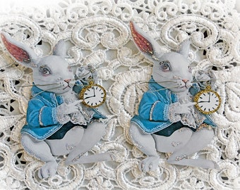 Reneabouquets Alice In Wonderland~ The White Rabbit Die Cut Set  Choose Your Size Scrapbook Embellishment