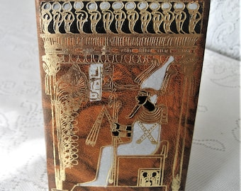 Ornate Leather Trinket Jewelry Box Gold Embossed Egyptian DecorTooled Leather Features Nekhet Pharoah's Woman Crown Headress Smoking Hookah