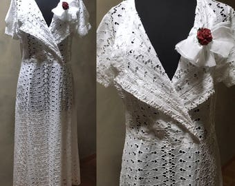 1930's White Deco Eyelet Dress with Cross-Over Bodice, A-line Skirt, Organza Bow, Garden Party