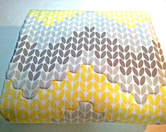Modern Baby Quilt Blanket  - Neutral Gray and Yellow