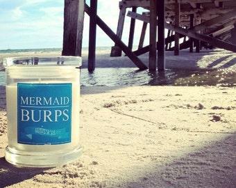 Mermaid Burps Soy Candle Australia Mango Papaya Scented Fragranced Funny Novelty