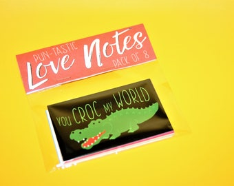 Pack of 8 glossy pun-tastic love note cards - Gift Tags / Lunchbox Notelets for Valentines / Birthday / Anniversary / Just Because