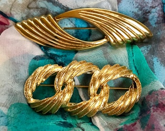 Vintage Gold Plated Brooches // Two Mid Century Designer Brooches // Napier Brooch