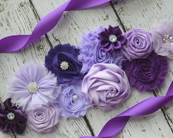 Shades of purple Sash sash ,#3,flower Belt, maternity sash, wedding sash, flower girl sash, maternity sash belt