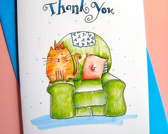 Funny Cat Thank You Card - Cat Lover Card - Friend Thank You - Gratitude