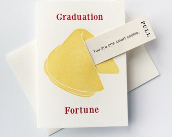 Letterpress Congratulations Graduation card- Fortune Cookie Smart Cookie