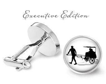 Chinese Rickshaw Cufflinks - Traditional Rickshaw Taxi Cufflink - Rickshaw Wedding Gift (Pair) Lifetime Guarantee (S0581)