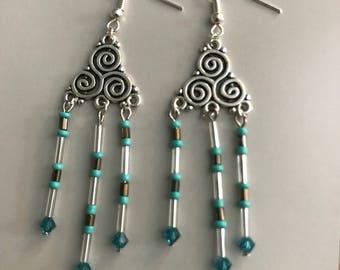 Swirling turquoise chandelier earrings
