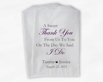 Sweet Thank You Wedding Candy Buffet Treat Bags - Gray and Dark Purple Personalized Favor Bags with Couple's Names and Wedding Date (0054-6)