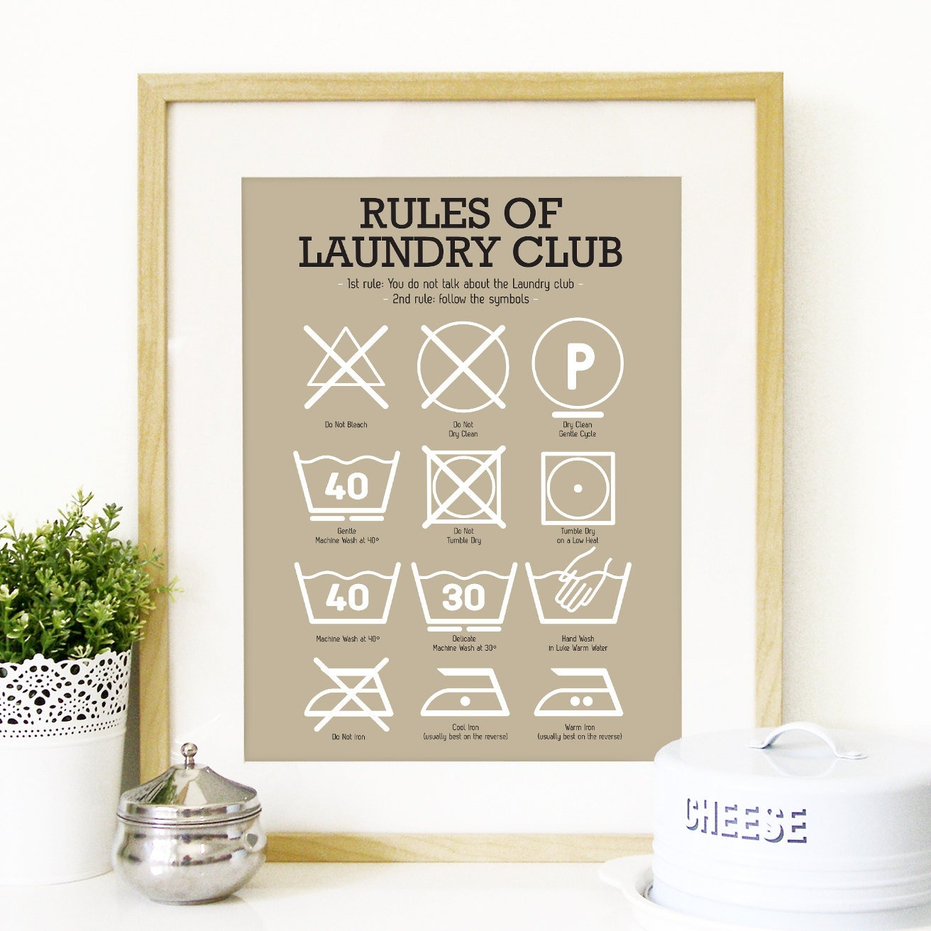 Laundry Symbols Wall Art Poster Kitchen Laundry Club Art Laundry Symbols Mid Century