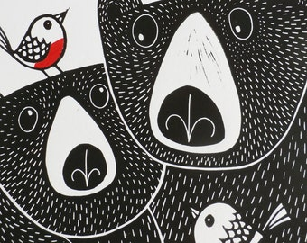 Bears & Robins In Love, Fathers Day Gift, Original Linocut Print, Signed Open Edition, Free Postage in UK, Hand Pulled, Printmaking,