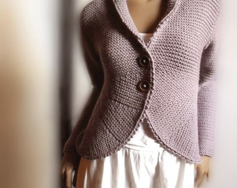 Womens Hand Knit Sweater Jacket Purple Grey Wool Sweater Cardigan Many Colors Available