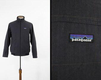 Patagonia Men's Cleegan Jacket Gray Windowpane Plaid Zip Up Windbreaker - Small