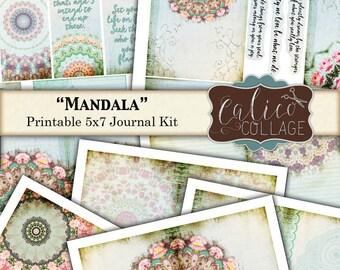 Mandala, Printable Journal Kit, Junk Journal, Collage Sheet, Mandala Journal, Journal Paper, Journal Kit, Digital Download, Journal Supplies