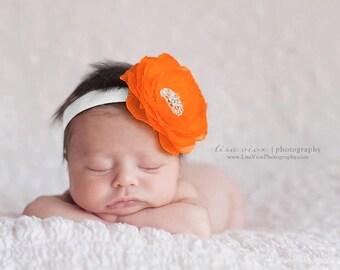 Baby Orange Flower headband..Baby Girl Orange Flower Headband..Baby Headband..Baby girl Flower Headband..Large orange Flower White Headband