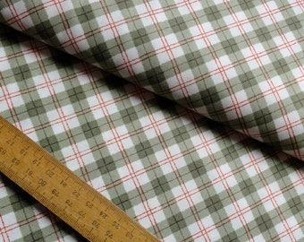 Plaid Green Orange on White Check Tartan Cotton Fabric by Makower from Sherwood collection per Fat Quarter FQ
