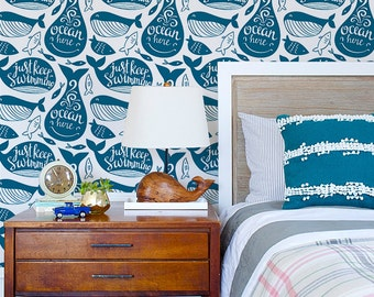 Navy blue whale pattern, Sea life wallpaper for a boy room, Fabric marine style with stylish lettering, Self adhesive #80