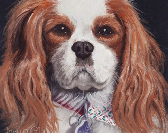 Dog Art Print, Cavalier King Charles Spaniel Art, Cavalier Art Giclee, Pet Portrait, Home Decor Wall Art, Dog Lover Gift, Cleo Cleopatra