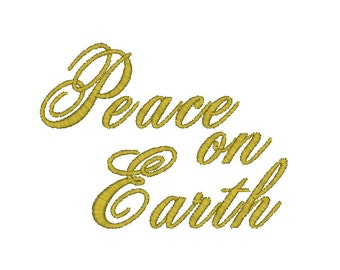 Peace On Earth Machine Embroidery Design, Christmas embroidery design, Peace embroidery design, Merry Christmas embroidery, sayings