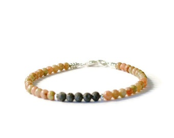 Essential Oil Diffuser Jewelry, Autumn Jasper and Lava Rock Aromatherapy Bracelet