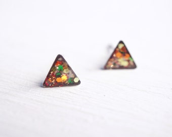 Tiny Copper Mix Glitter Triangle Stud Earrings