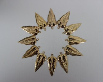 Set of Twelve Medium Gold Plated Leaf Findings
