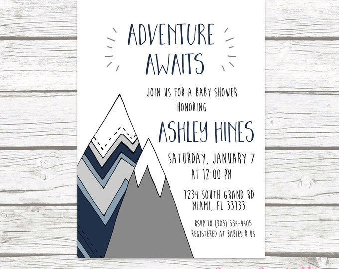 Adventure Baby Shower Invitation, Mountain Baby Shower Invite, The Adventure Begins, Adventure Awaits Boy Tribal Baby Shower Printable