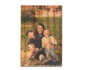 Dad photo gift, Wooden Photo on Reclaimed Wood