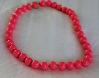 Hot Pink Beaded Lucite Neckace Marked Japan