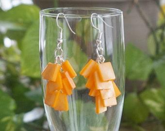 Orange Dangle Shell Earrings, Women's Beaded Earrings, Orange Cluster Earrings, Gift for her, Mother's gift