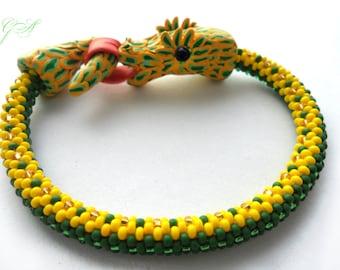 Handmade Beaded Bracelets Snake bracelet Polymer clay snake Snake crocheted Green snake Snake bracelet  Beaded bracelet Beaded  crochet