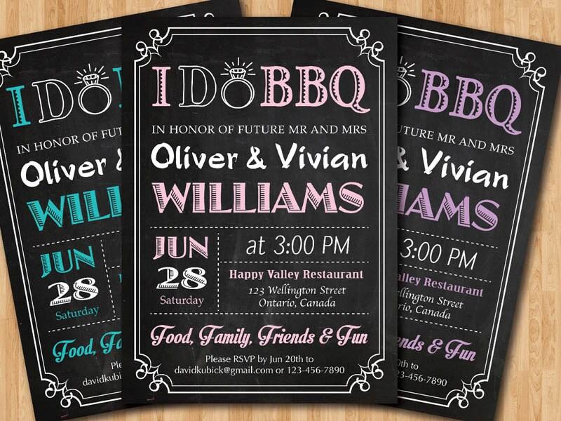 I do BBQ Wedding Invitation. Chalkboard invite. Pink Blue