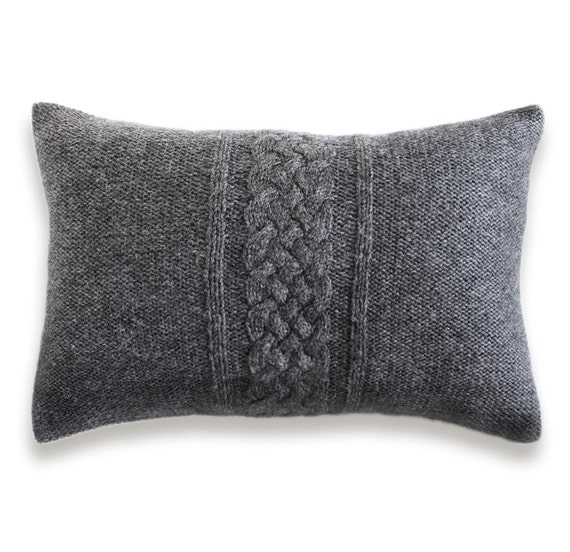 Cable Knit Pillow Cover In Charcoal Gray 12x18 Inch Textured