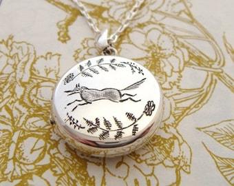 Silver Running Fox Locket, silver locket, engraved locket