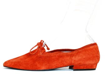 1980s Rust Suede Pointy Toe Flats Shoes