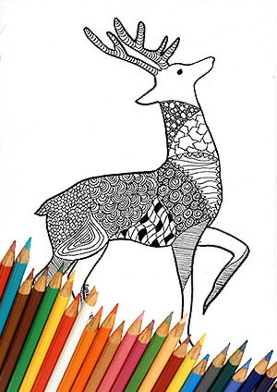 Ciervo de Navidad renos para colorear página Navidad invierno