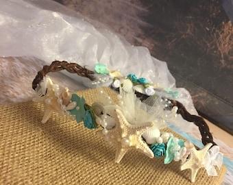 Xo bouquet tiara crown veil seashell starfish beach wedding