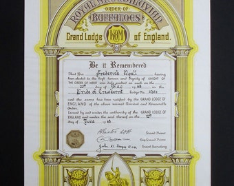 The Royal Antedeluvian Order of Buffalo Vintage Certificate Knight Order of Merit Frederick Ryall Pride of Crewkerne Grand Lodge of England