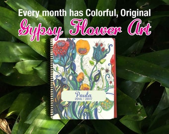Colorful Art throughout this Personalized planner, Daily - Weekly - Monthly Planner Book / Start today / Small business planner