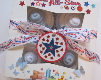 Baby Shower Gift Set Boy Diaper Washcloth and Socks 10 Piece Cupcake Set