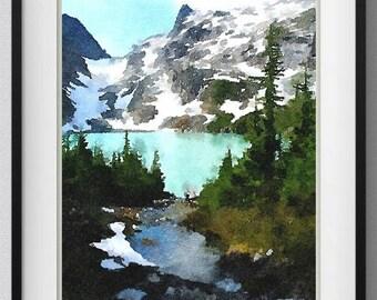 Washington,Jade Lake,Watercolor,Painting,Print,Art,Wall Art,Home Decor, Pic. No. 158