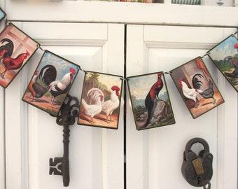 CHICKENS Garland--Farmhouse garland,  Farm banner,Mothers Day gift, Farm decor, wall decor, Kitchen decor, Housewarming gift, chicken decor