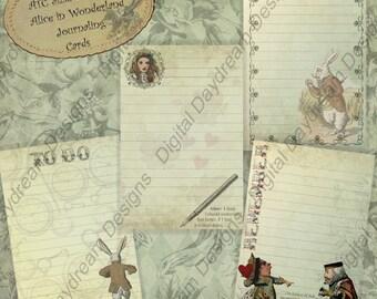 Instant Download Alice in Wonderland ATC Size Printable Journaling Card or Gift Tag Collage Sheet Set - pdf, jpg or png